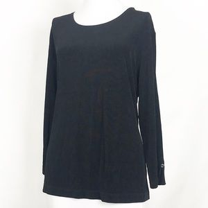 Chico's Travelers Black Blouse Top Size 3